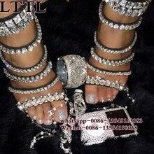 Gladiator Sandals Women Summer Rhinestone Thin Heel Shoes Op