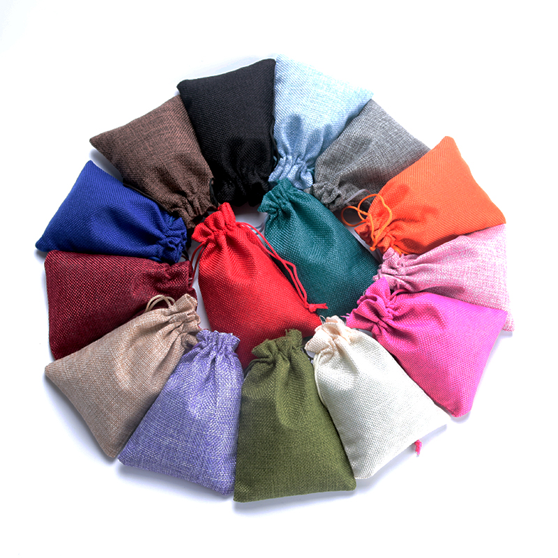Free Shipping 5pcs 7x9 10x14 13x18cm Small Jute Bracelet Jewelry Packaging Bag Linen Drawstring Gift Bag Pouches Can Custom Logo