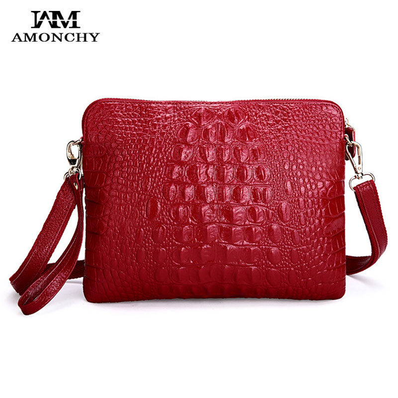 AMONCHY Genuine Leather Women's Shoulder Bags Alligator Cowhide Lady Messenger Bag Crocodile Handbags Clutches Bolsas Femininas amonchy genuine leather men shoulder bags handbags crocodile male bags natural leather man messenger bag alligator totes sac m50