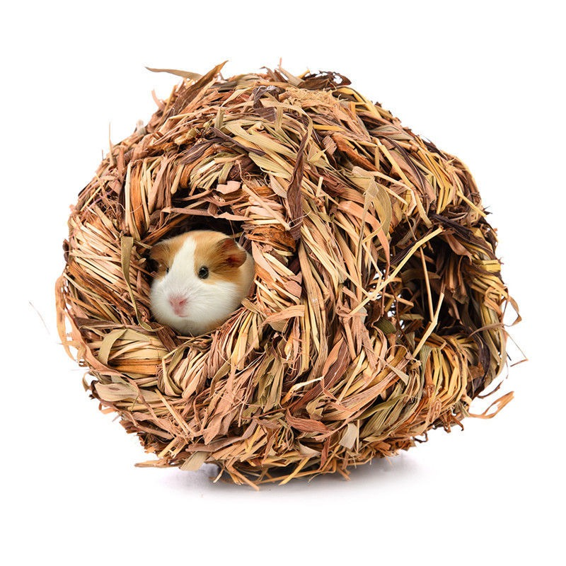 Shellhard Pet Grass House Natural Small Pet Snooze Nest Bed Cabin Cave Hamster Guinea Pig Chinchilla Winter Warm Cage New