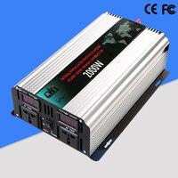 2000 Вт Чистая синусоида автомобилей трансформатор DC 12 В/24 В к AC 110 В/220 В мощность инвертор автомобиль Питание конвертер