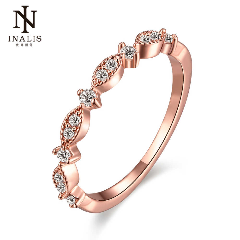INALIS Rose Gold Color TOP Class Heart Rhinestones Studded Eternity Wedding Ring for Women Evening Party Jewelry CZ Zircon Rings
