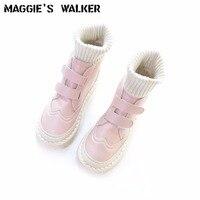 ماجي ووكر المرأة جلد طبيعي أزياء الأحذية المصنوعة يدويا الخريف عارضة خليط جلد الأحذية حجم 35 ~ 40