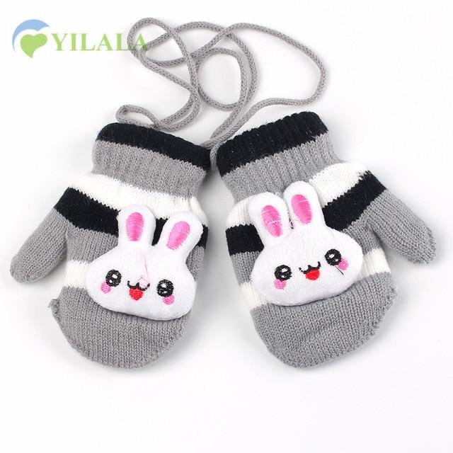 Hängen Gestrickte Kinder Handschuhe Cartoon Kaninchen Kinder