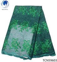 BEAUTIFICAL Teal green lace african fabric stones mesh lace embroidery fabric sewing fabric lace latest blue design TCN596