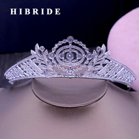 HIBRIDE New Design Noble Clear Cubic Zircon Muslim Women Crown And Tiaras Female Bridal Hair Accessories For Anniversary C 43