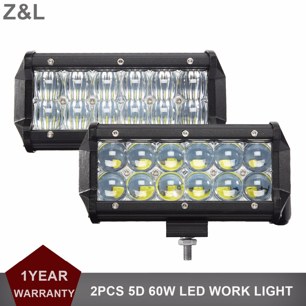 "2pcs 7"" 60W 5D LED Work Light Bar Tractor Boat Offroad Car 4x4 Truck SUV ATV UTE Wagon Farming 4WD Camper 12V 24V Fog Headlight"