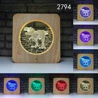 Dinosaur Elephant LED 3D Night Light Wood Grain Touch Switch Usb Animal 3D Table Lamp Home Decor Baby Sleeping Lighting Gift