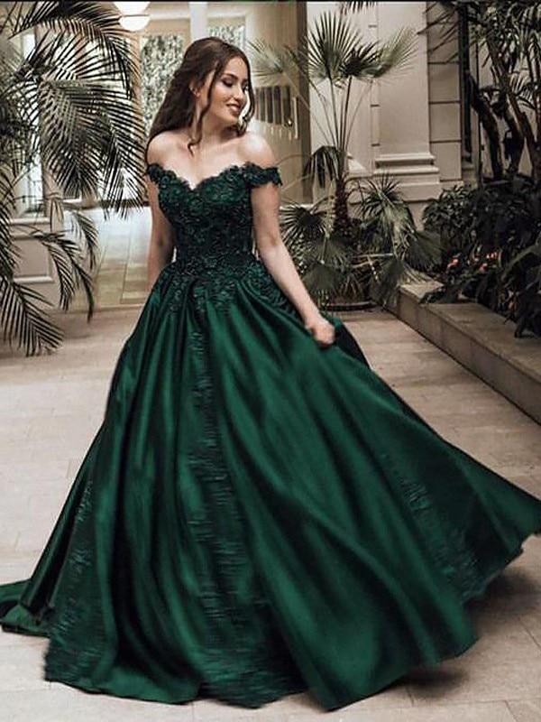 Vestido de fiesta Off-the-Shoulder Satin  Ball Gown Prom Dresses with Lace Appliques Elegant Gala Jurken Robe de bal Longue