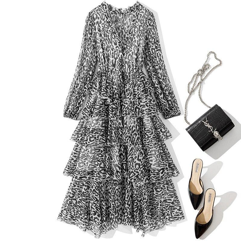 Femmes 2019 pré automne mode automne à manches longues en mousseline de soie robe couches volants imprimé léopard robes sexy gris