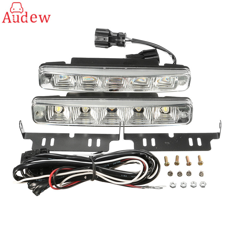 2Pcs LED Working Light 10W Car Truck Boat SUV 5 LED Daytime Driving Running Fog Lights Lamps DRL