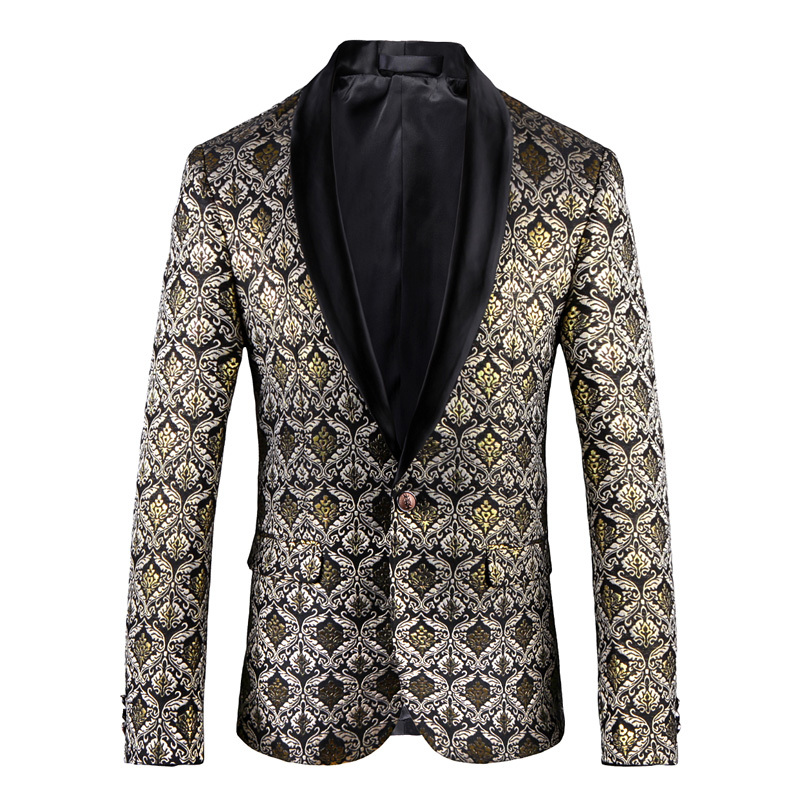 M ~ 5XL 2018 nouveaux vêtements pour hommes mode styliste version anglaise du style coréen impression velours slim costume veste costumes