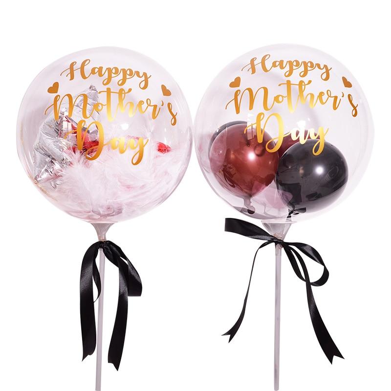 18 дюймовые воздушные шары Happy Mother Day Party Helium MAMA, прозрачные баллоны с перьями для украшения вечеринки