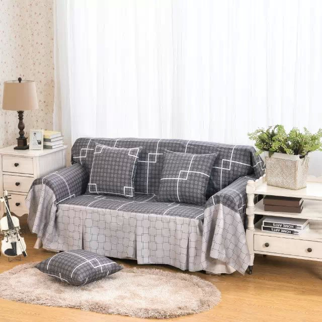 Pure Cotton Slipcover Sofa Cover Full Antiskid Customized Rural Single Double Cloth Art Cushion