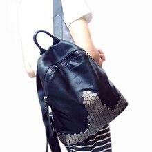С заклепками в стиле панк женские рюкзак для подростков Mochila Escolar известный бренд искусственная кожа с натуральная кожа оборудования рюкзак