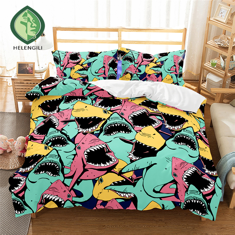 HELENGILI 3D Bedding set Shark Print Duvet cover set lifelike bedclothes with pillowcase bed set home Textiles #2-07HELENGILI 3D Bedding set Shark Print Duvet cover set lifelike bedclothes with pillowcase bed set home Textiles #2-07
