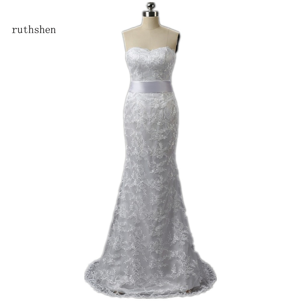 ruthshen Lace Mermaid Wedding Dresses Cheap 2018 Sweetheart Sweep Train Bridal Gown With Ribbon Sash Vestido