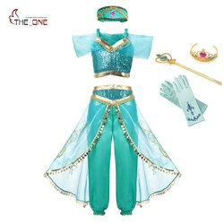 MUABABY Arabian Princess Dress up Costume for Girls Summer Sleeveless Sequined Jasmine Cosplay Dresses Kids Halloween Fantasy