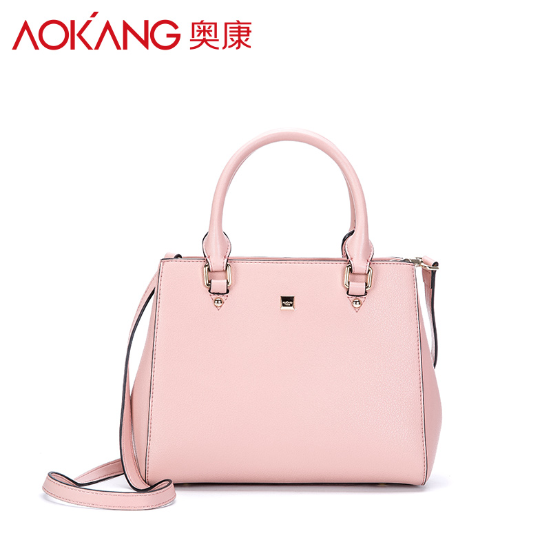 Aokang 2016 autumn new euremrican design split leather ladies totes grey black pink female solid handbags fashion casual totes 2017 new female fashion autumn bag pink