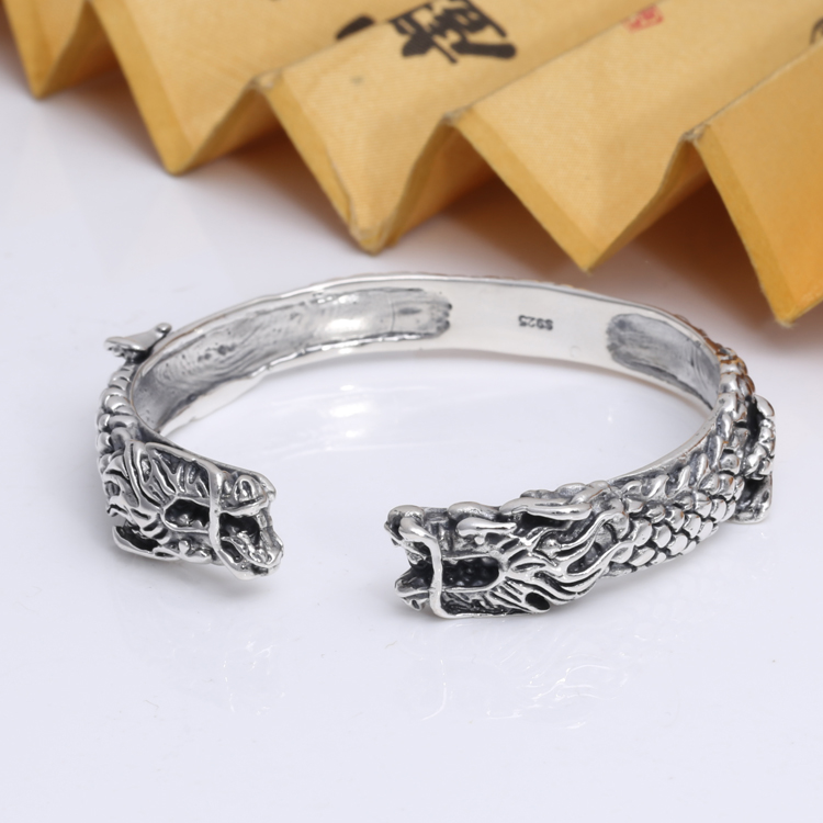 Handmade Thailand 925 Silver Double Dragon Bangle Vintage Sterling Silver Dragon Symbol Bangle Real Pure Siver Dragon BangleHandmade Thailand 925 Silver Double Dragon Bangle Vintage Sterling Silver Dragon Symbol Bangle Real Pure Siver Dragon Bangle