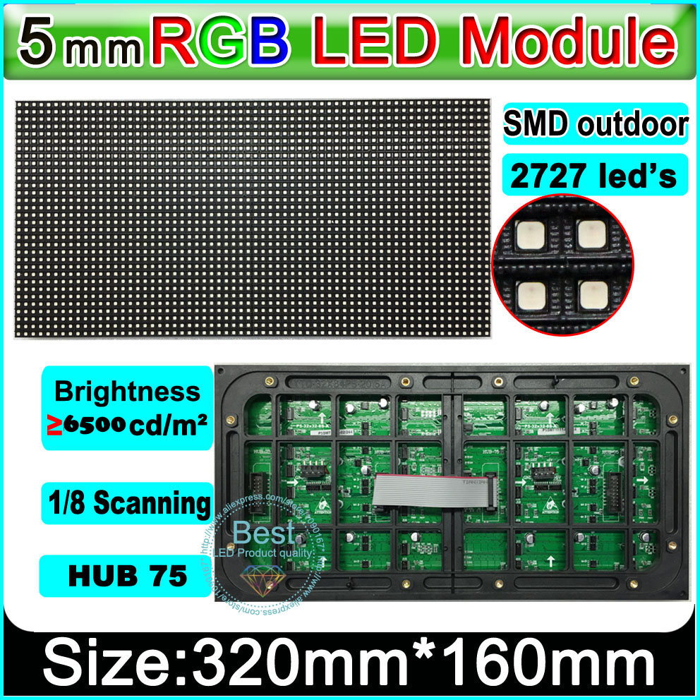 SMD 2727 P5 outdoor Video wall led module,1/8 Scan high brightness, Outdoor full color LED display module SMD P5 LED Panel,