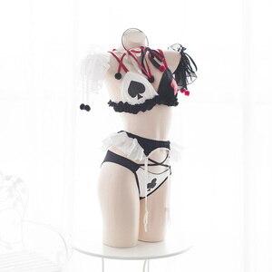 Image 3 - Clowns Poker Underwear Cute Lolita Anime Bra Girl Underwear Devil Cosplay Costumes Sexy Bandage Lingerie Set Halloween Costumes