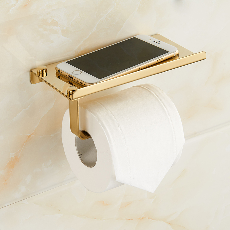 Gold Toilet Paper Holder Stainless Steel Resistant Tissue Paper Rack With Phone Holder Polish Finis Bathroom Accessories Set