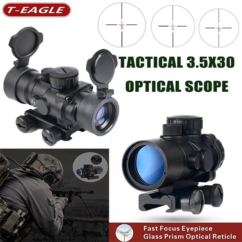 T-eagle 3.5X30 Tactical czerwony zielony niebieski luneta celownik optyczny Rifle Scope lunety z 20mm Rail Mount optyka myśliwska