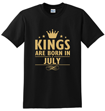 Kings Are Born In July GOLD PRINT Mens T-Shirt Funny Print Clothing Hip-Tope Mans Tops Tees Fashion T-Shirts Summer  100% Cotton floral skull women t shirt s 3xl newstreetwear funny print clothing hip tope mans t shirt tops tees hot sale men t shirt fashion