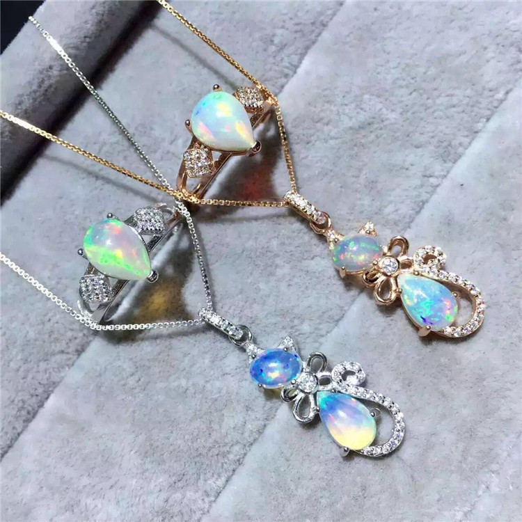 KJJEAXCMY boutique jewels S925 Pure silver inlay natural opal women's suit exquisite 2 pieces of suit accessories pair of exquisite opal embellished square decorated earrings