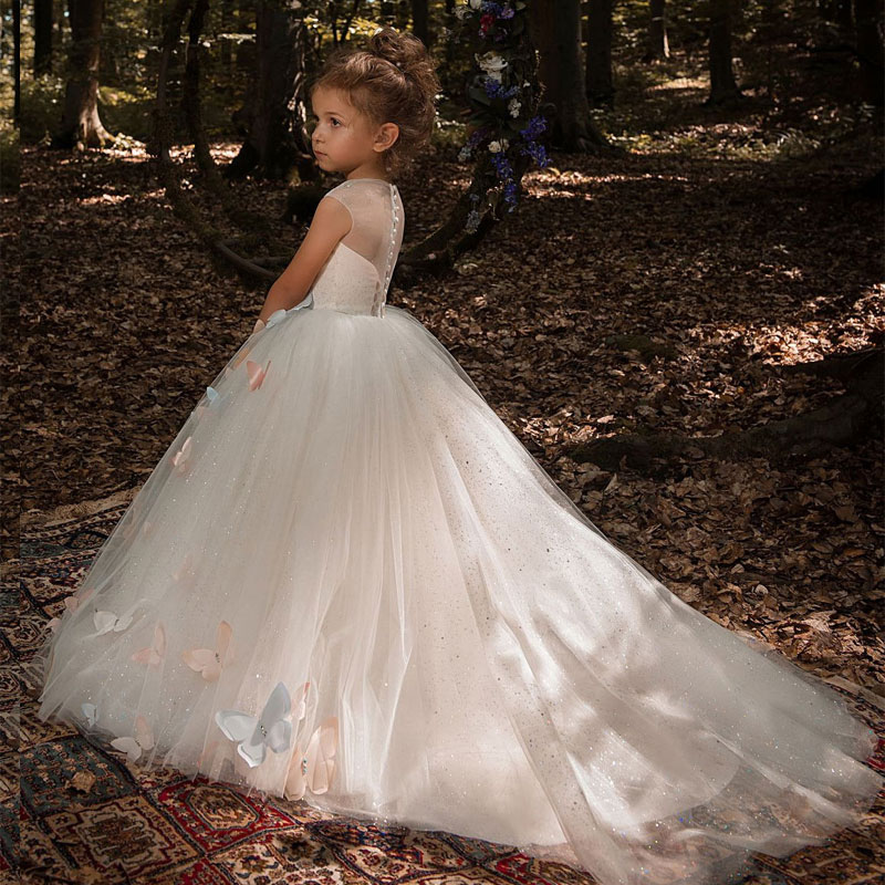 Ivory Tulle   Flower     Girl     Dress   Fancy Butterfly Decoration Sheer Neckline Cap Sleeves Kids Pageant Ball Gowns with Rhinestones