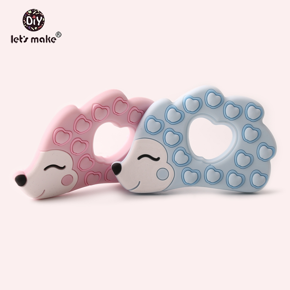 Let's Make Silicone Pendant Hedgehog Shape BPA Free Porcupine Single Loaded Food Grade Silicone Baby Teethers Patent Owner
