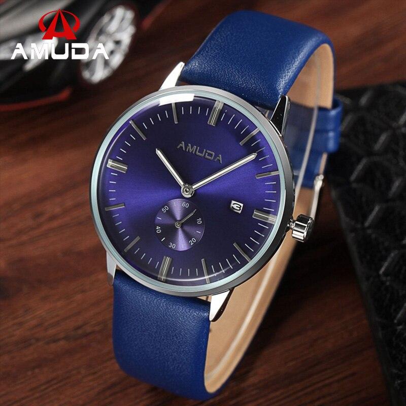 Amuda Brand Watch Men Casual Sport Wristwatch Blue Face Fashion Watch Genuine Leather Strap Military Clocks Relogio Masculino