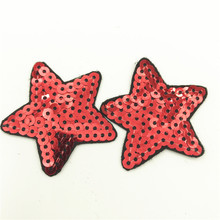 50pcs 5.0*5.0cm Sequin Red Star Patches Iron on Embroidery Sequins Patch Applique Sewing Sticker