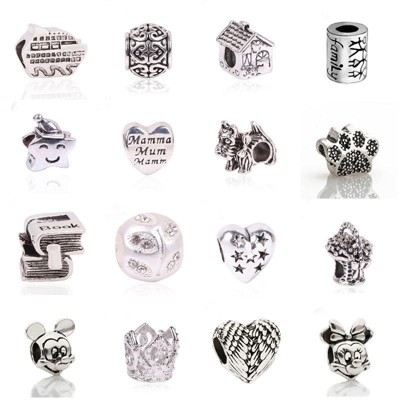 New European Silver Color Delicate Angel Wings Heart Charm Beads Fit Pandora Bracelets For Women DIY Jewerly Making Christmas close-up