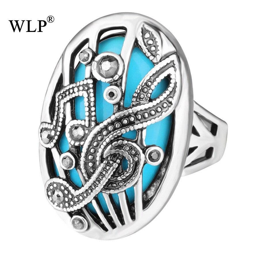 WLP 2018 Music Symbol Image Resin Precious Stone Decoration Couple Men&Women Vintage Turkish Big Size Bohemian Boho Finger Rings