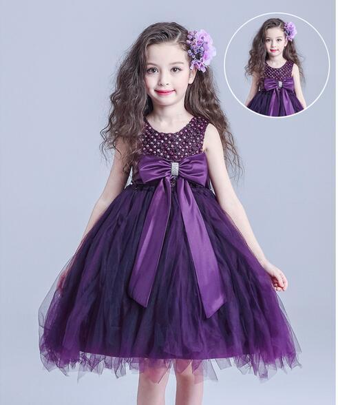 Violet bébé filles premier anniversaire Communion robes enfants fête robe de bal princesse demoiselle d'honneur enfants Tutu robe fille 3-14 ans
