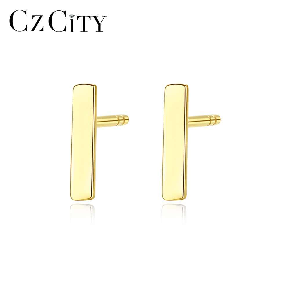 7180a458cff71 CZCITY New Real 14K Gold Cute Round Circle Stud Earrings for Women ...