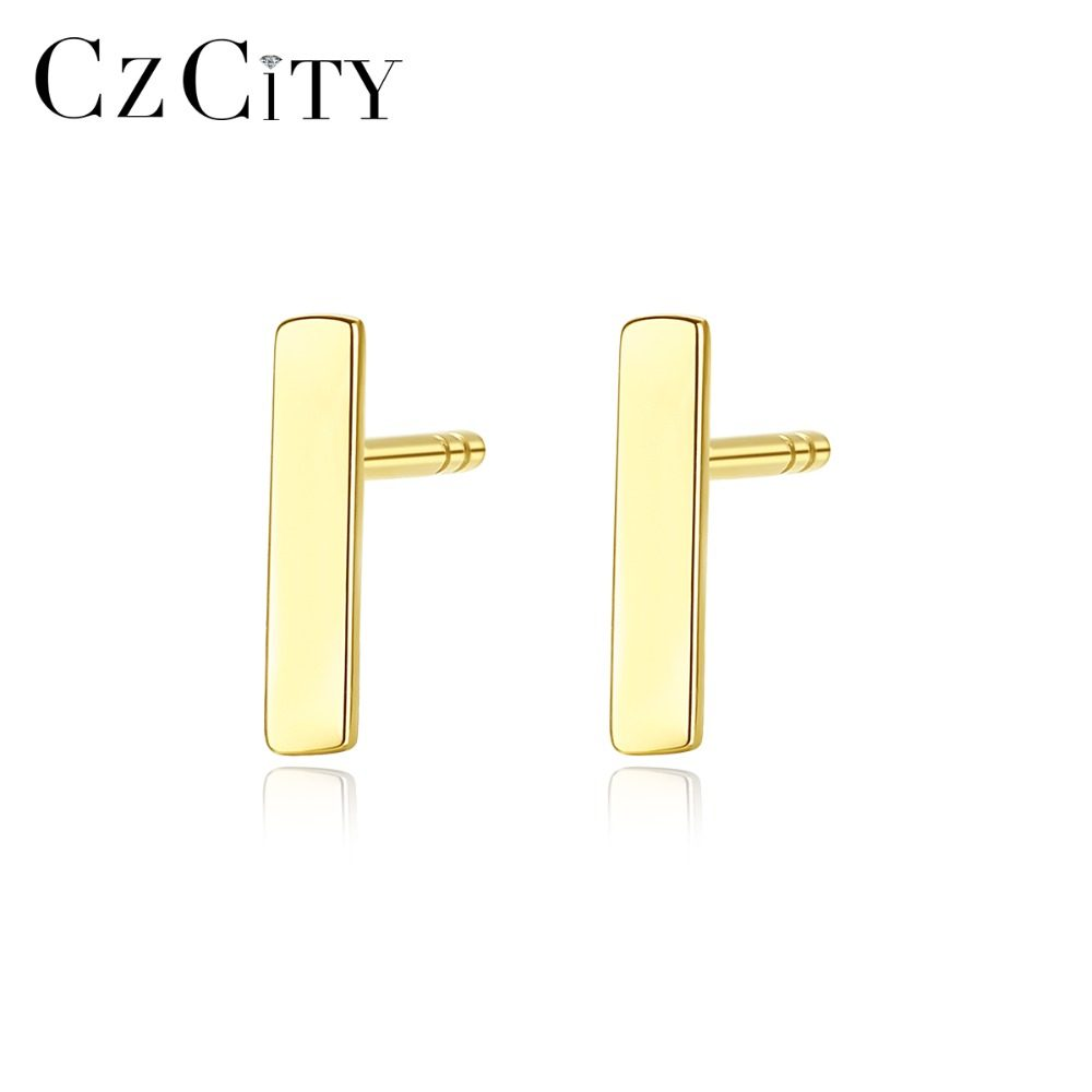 228ccf895bf79 CZCITY New Real 14K Gold Cute Round Circle Stud Earrings for Women Simple  Dating Daily Wear Gold Earrings Jewelry Carving Au585