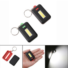Red/Green COB LED Flashlight Light 3-Mode Mini Lamp Key Chain Ring Keychain Lamp Torch Keyring Pocket Emergency Light AAA