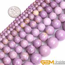 Round Natural Purple Phosphosiderite Stone Semi Precious Beads Selectable 4-16mm DIY Loose Beads For Jewelry Making 15