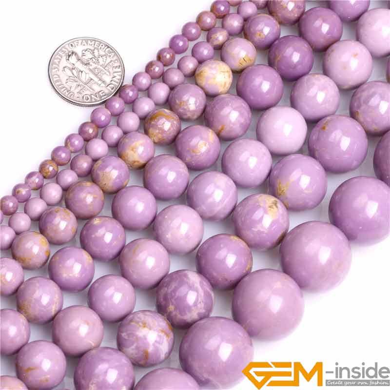 Runde Natürliche Lila Phosphosiderite Stein Semi Kostbare Perlen Wählbar 4-16mm DIY Lose Perlen Für Schmuck Machen 15