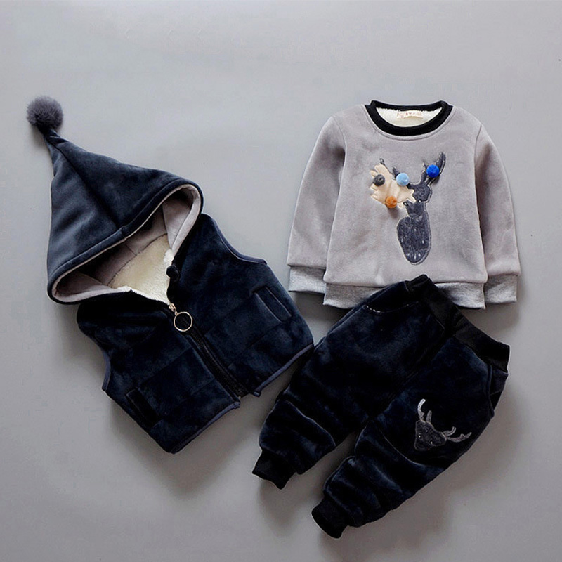 Children Clothing 2018 Autumn Winter Lovely Deer Girls Clothing Sets Hoodies Vest+Shirt+Pants Kids Costume Boys Clothes Suit