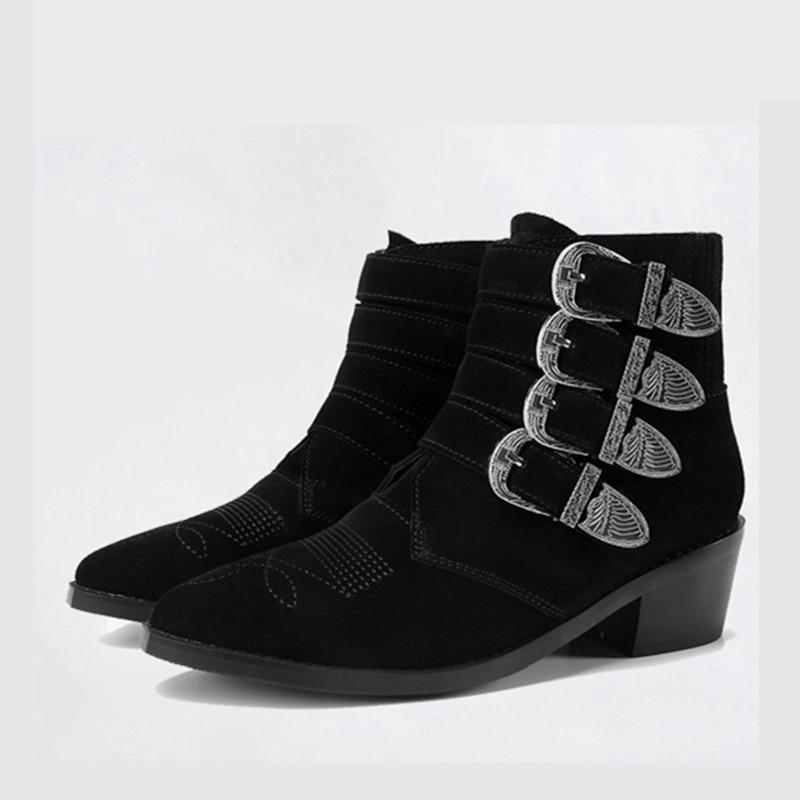 Mabaiwan En Dames Épais Bottines Automne Boucles Talon Botas Nouvelles Femmes Brodé Métal Plates Moto Noir Martin Chaussures Bottes rnrqW4A