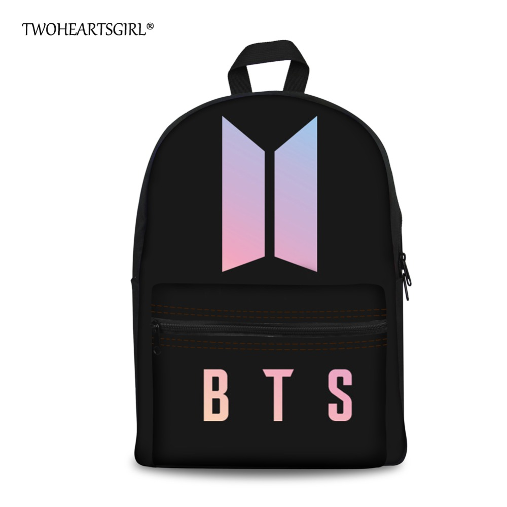 Twoheartsgirl Black Canvas Letter BTS Backpack for Teenage Girls Kpop Student Boys Kids Bagpack Trendy Fashion Women Bookbags trendy letter heart round rhinestone bracelet for women