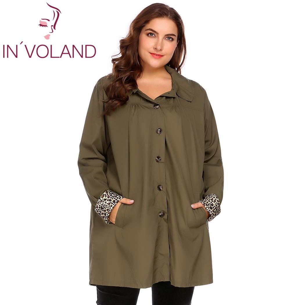 IN'VOLAND Große Größe XL-5XL Frauen Regen Mantel Jacke Frühling Herbst Plus Größe Mit Kapuze Windjacke Leichte Wasserdichte Regenmantel