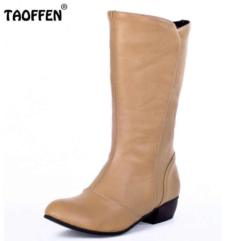 TAOFFEN Free shipping half ankle short high heel boots women snow fashion winter warm boot footwear shoes P9668 EUR size 34-43 serene handmade winter warm socks boots fashion british style leather retro tooling ankle men shoes size38 44 snow male footwear