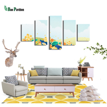 Cartoon Flowers In The Canvas Wall Art Print Home Decor For Living Room Modern Decorative Pictures 5 Pieces Painting