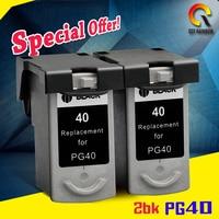 2PCS Black For PG 40 PG40 PG 40 Ink Cartridge For Canon PIXMA IP2500 IP2600 MX300