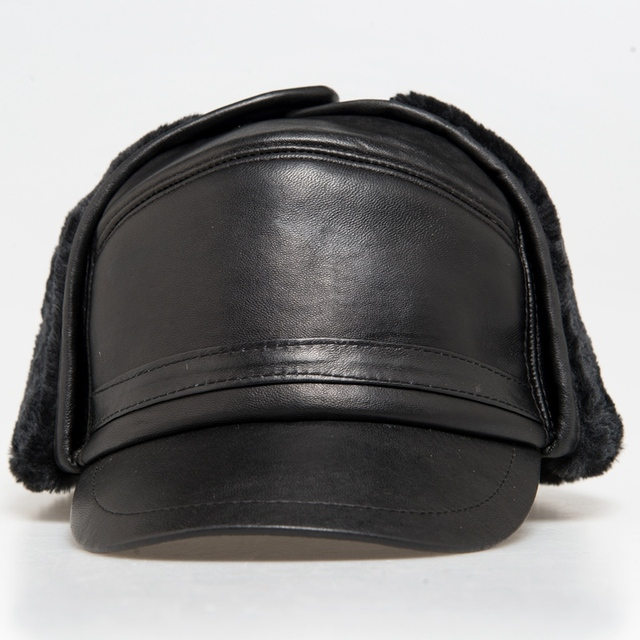 21dad1b7d 2017 Winter Autumn Mens 100% Sheepskin Leather Cap Warm bomb Cap With Ear  Flaps Russia Genuine Leather Hats For Men-in Bomber Hats from Men's  Clothing ...